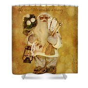 Golden Santa Card 2015 Shower Curtain