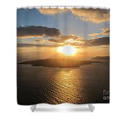 Golden Santorini Sunset Shower Curtain