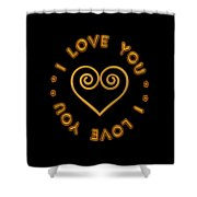 Golden Scrolled Heart And I Love You Shower Curtain