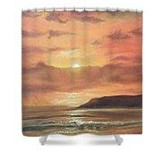 Golden Shoreline Shower Curtain