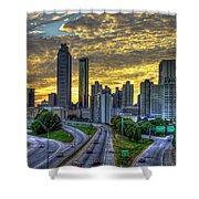 Golden Skies Atlanta Downtown Sunset Cityscape Art Shower Curtain