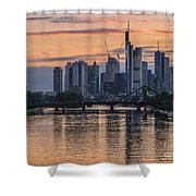 Golden Skyscraper Refelctions Shower Curtain