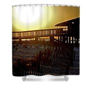 Golden Slats Shower Curtain