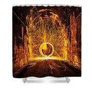 Golden Spinning Sphere Shower Curtain