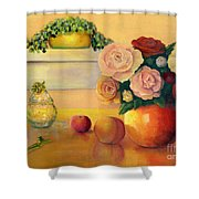 Golden Still Life Shower Curtain