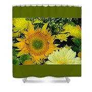 Golden Sunflower Yellow Bouquet By Kaye Menner Shower Curtain