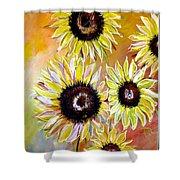 Golden Sunflowers Shower Curtain