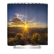 Golden Sunlight Desert Scene Shower Curtain