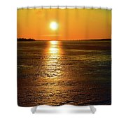 Golden Sunset Light On The Ice Two  Shower Curtain