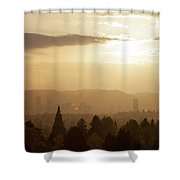 Golden Sunset Over Portland Skyline Shower Curtain