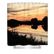 Golden Sunset Reflection Shower Curtain
