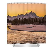 Golden Teton Sunset Shower Curtain