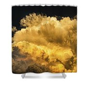 Golden Thunderhead Shower Curtain