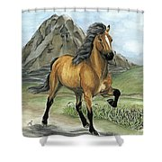 Golden Tolt Icelandic Horse Shower Curtain