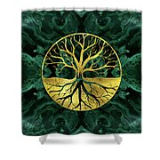 Golden Tree Of Life Yggdrasil On Malachite Shower Curtain