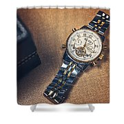 Golden Watch And Black Box Shower Curtain