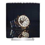 Golden Watch On Dark Background Shower Curtain