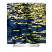 Golden Water With Rocks Shower Curtain