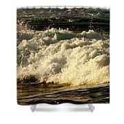 Golden White Wave Shower Curtain
