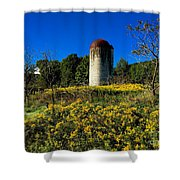 Goldenrod Surrounded Silo Shower Curtain