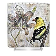 Goldfinch And Lily Shower Curtain