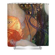 Goldfish Shower Curtain by Gustav Klimt