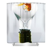 Goldfish In Light Bulb  Shower Curtain