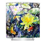 Goldfishes Happily Swimming  Shower Curtain