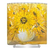 Goldflowers Shower Curtain