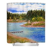 Goldwater Lake Shower Curtain by Jamie Frier