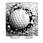 Golf Ball Breaking Forcibly Through A White Wall. 3d Illustration. Shower Curtain