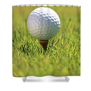 Golf Ball On Tee Shower Curtain