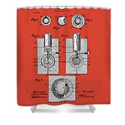 Golf Ball Patent Drawing Red Shower Curtain