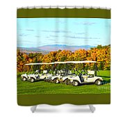 Golf Carts On Vermont Golf Course Shower Curtain