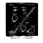 Golf Club Patent 1910 Black Shower Curtain
