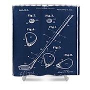 Golf Club Patent 1910 Blue Shower Curtain