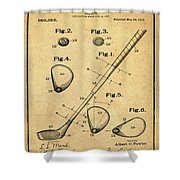 Golf Club Patent 1910 Sepia Shower Curtain