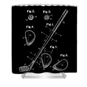 Golf Club Patent Drawing Black Shower Curtain