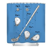 Golf Club Patent Drawing Blue Shower Curtain