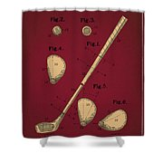 Golf Club Patent Drawing Dark Red 2 Shower Curtain