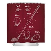 Golf Club Patent Drawing Dark Red Shower Curtain