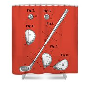 Golf Club Patent Drawing Red Shower Curtain