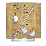 Golf Club Patent Drawing Vintage Shower Curtain
