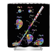 Golf Club Patent Drawing Watercolor 3 Shower Curtain