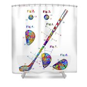 Golf Club Patent Drawing Watercolor Shower Curtain