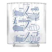 Golf Clubs Patent Drawing Shower Curtain
