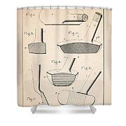 Golf Clubs Patent - Patent Drawing For The 1903 A. F. Knight Golf Clubs Shower Curtain