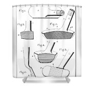 Golf Clubs Patent - Restored Patent Drawing For The 1903 A. F. Knight Golf Clubs Shower Curtain