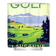 Golf, Lausanne, Switzerland, Travel Poster Shower Curtain