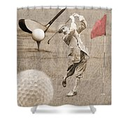 Golf Red Flag Vintage Photo Collage Shower Curtain
